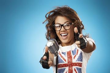 Glamour Singer Girl. Rock n roll Style. Song. Karaoke