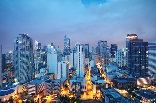 Night view of Makati, the business district of Metro Manila.