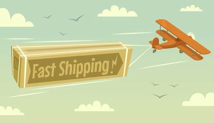 Biplane and fast shipping. Vector illustration.
