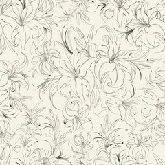 Seamless texture of lilies