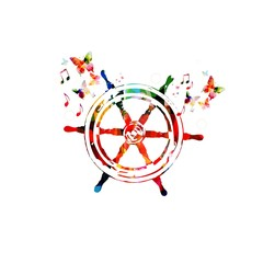 Colorful vector ship steering wheel background with butterflies