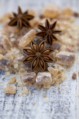 Star anise on brown sugar, Christmas spices