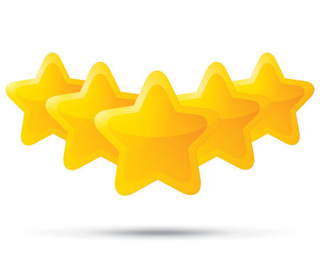 Five golden stars. Star icons on white background.
