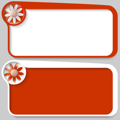 two red vector text box and flower