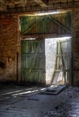 Old door with sunlight