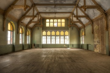 Old hall in an abandoned hospital in beelitz