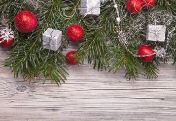 Christmas decoration on wood, christmas background