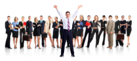 Happy businessman and Business people group.