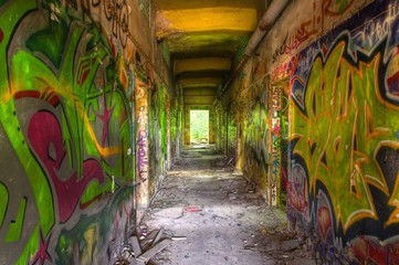 Old corridor with graffiti