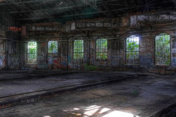 Wall Mural - Abandoned hall with windows