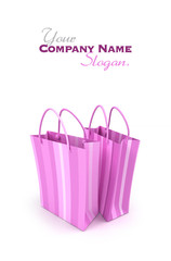 Pair of pink striped shopping bags