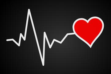 Tafel mit Herz und Puls