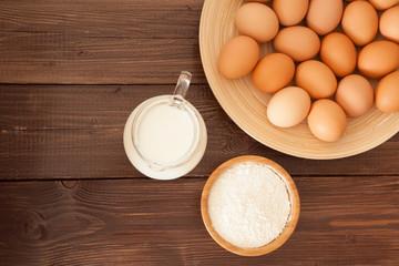 Eggs, milk and flour