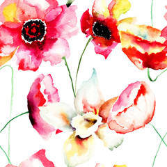 Seamless wallpaper with Colorful red flowers
