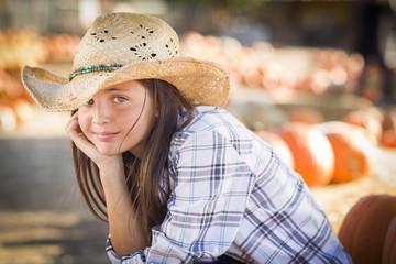 Cute Preteen Girl Portrait at the Pumpkin Patch
