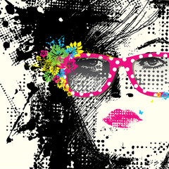 Printed roller blinds Woman face Women in sunglasses