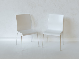 White Interior Room With Two Plywood Chairs
