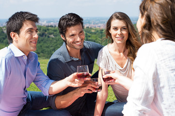 Group Of Friends Enjoying Wine