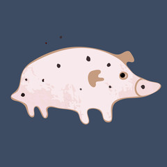 Little pig. Vector art