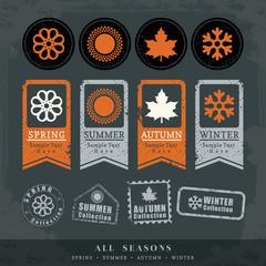 four seasons symbol vector illustration for postage stamp label