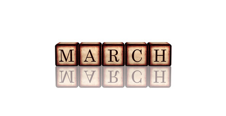 march in 3d wooden cubes