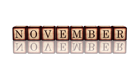 november in 3d wooden cubes