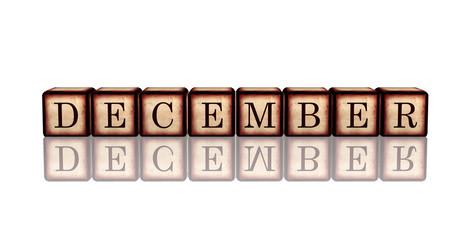 december in 3d wooden cubes