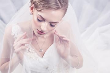 Bride portrait.Wedding dress. Studio shot.