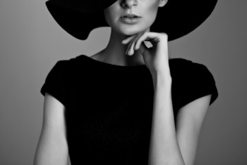 Black and white portrait of elegant woman