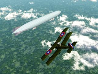 Deutsches Luftschiff und Doppeldecker-Flugzeug (1.WK)