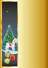 Weihnachtsbaum mit Schaukelpferd Gold