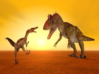 Die Dinosaurier Velociraptor und Cryolophosaurus