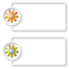 two white abstract text frame with flowers