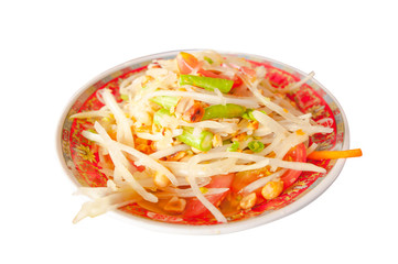 Green papaya salad Thai Food on white background.