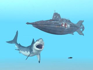 Great White Shark and Submarine