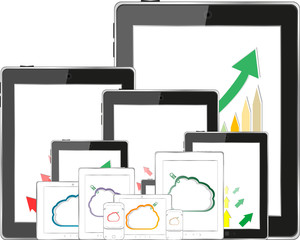 cloud computing, tablet PC downloading data and arrow chart