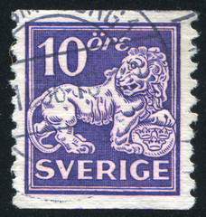 Heraldic lion supporting arms of Sweden