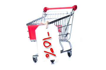 Shopping cart with 10 percent discount isolated on white