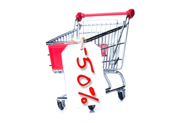 Shopping cart with 50 percent discount isolated on white