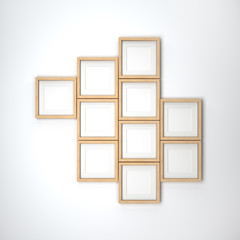 Wooden frames on a white wall