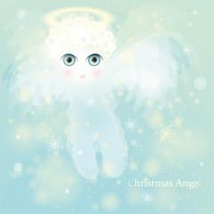 Christmas Angel / Beautiful golden-haired Cherub in the sky