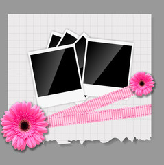 Gerbera flowers with white card template