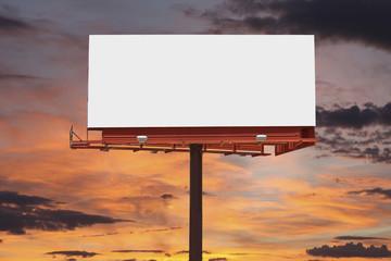 Blank Billboard with Sunset Sky