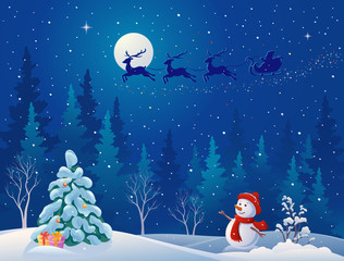 Santa sleigh and greeting snowman