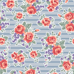 classic roses over blue stripe