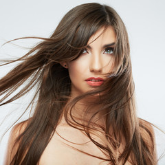 Woman hair style fashion portrait . isolated.
