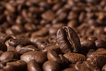 Coffee beans closeup on blurred background
