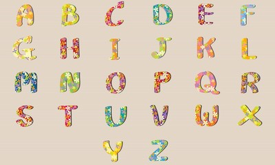 Vector Alphabet Flowers Design A-Z