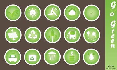 Eco Friendly Icons Vector Set: Go Green