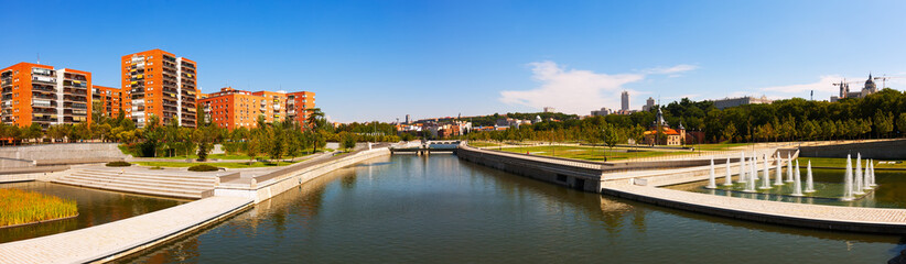 Panorama of Manzanares river in Madrid